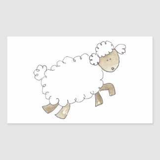 Vintage Sheep by Serena Bowman funny farm animals Rectangular Sticker