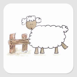 Vintage Sheep by Serena Bowman funny farm animals Square Sticker
