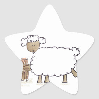Vintage Sheep by Serena Bowman funny farm animals Star Sticker