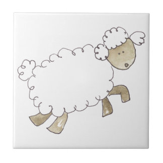 Vintage Sheep by Serena Bowman funny farm animals Tile