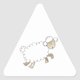 Vintage Sheep by Serena Bowman funny farm animals Triangle Sticker