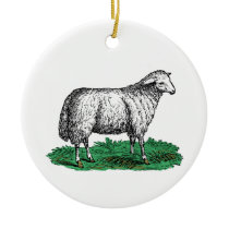 Vintage Sheep Ewe Farm Animals Drawing C Ceramic Ornament