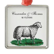 Vintage Sheep Ewe Farm Animals Drawing C Metal Ornament