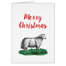 Vintage Sheep Ewe Farm Animals Drawing C Xmas Card