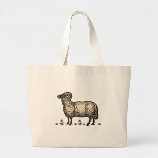 Vintage Sheep Farm Animal Illustration Jumbo Tote Bag