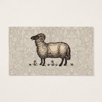 Vintage Sheep Farm Animal Illustration Business Card