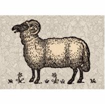 Vintage Sheep Farm Animal Illustration Cutout