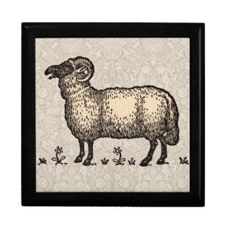 Vintage Sheep Farm Animal Illustration Gift Box
