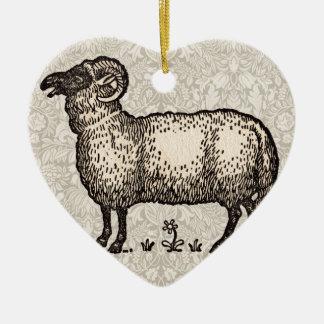 Vintage Sheep Farm Animal Illustration Christmas Tree Ornaments