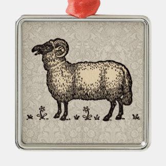 Vintage Sheep Farm Animal Illustration Christmas Tree Ornament