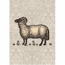 Vintage Sheep Farm Animal Illustration Statuette