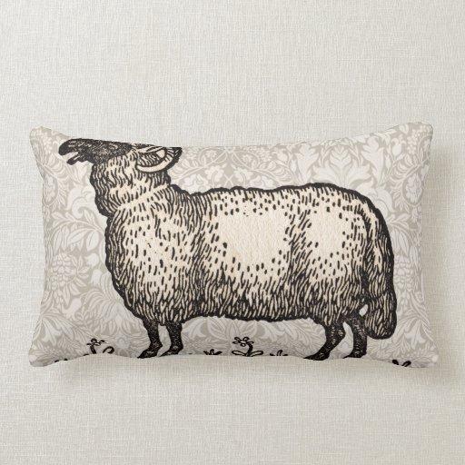 Farm Animal Throw Pillows : Vintage Sheep Farm Animal Illustration Throw Pillow Zazzle