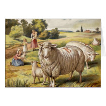 Vintage Sheep InMeadow Greeting Card