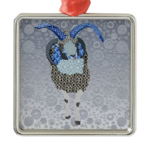 Vintage Sheep Silver Floral  Christmas Ornament