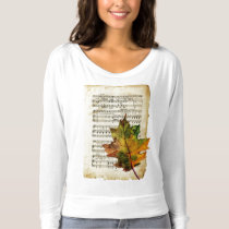 Vintage Sheet Music and Autumn Leaf Women's Top