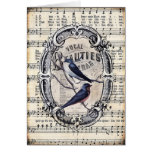 Vintage Sheet Music and Birds Card