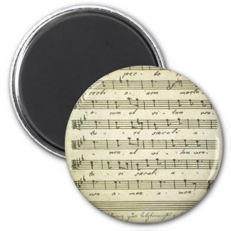 Vintage Sheet Music, Antique Musical Score 1810 2 Inch Round Magnet