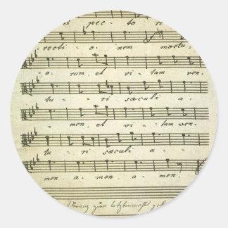 Vintage Sheet Music, Antique Musical Score 1810 Classic Round Sticker