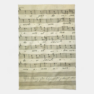 Vintage Sheet Music, Antique Musical Score 1810 Kitchen Towel
