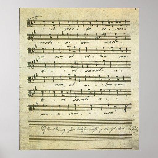 Vintage Sheet Music, Antique Musical Score 1810 Poster