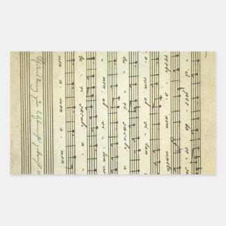 Vintage Sheet Music, Antique Musical Score 1810 Rectangular Sticker