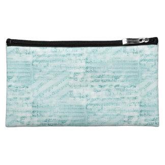 Vintage Sheet Music Aqua Bag Makeup Bag