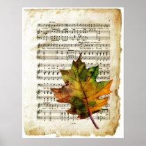 Vintage Sheet Music Autumn Leaf Art Poster