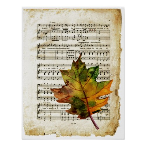 Vintage Sheet Music Autumn Leaf Art Poster