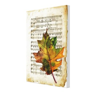 Vintage Sheet Music Autumn Leaf Canvas Wall Art
