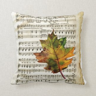 Vintage Sheet Music Autumn Leaf Throw Pillow