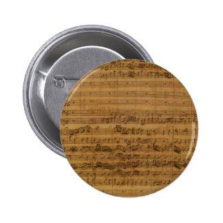 Vintage Sheet Music by Johann Sebastian Bach 2 Inch Round Button