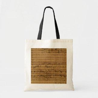 Vintage Sheet Music by Johann Sebastian Bach Budget Tote Bag