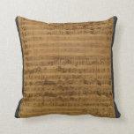 Vintage Sheet Music by Johann Sebastian Bach Throw Pillows