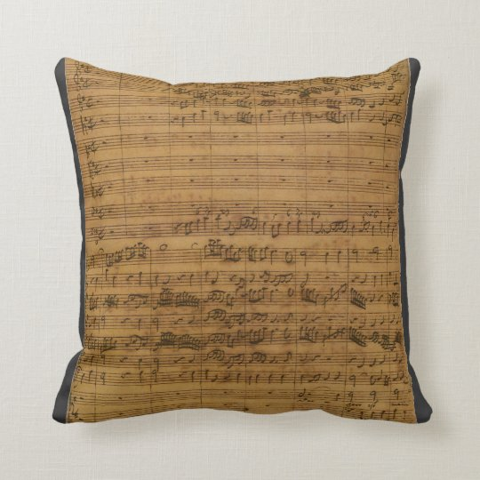 Vintage Sheet Music by Johann Sebastian Bach Throw Pillow