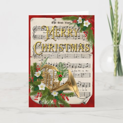 Vintage Sheet Music French Horn Christmas