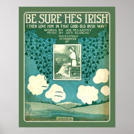 Vintage Sheet Music Make Sure He's Irish Poster