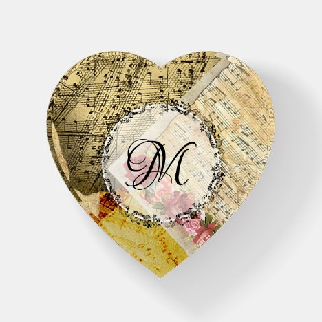Vintage Sheet Music Musial Notes Roses Paperweight