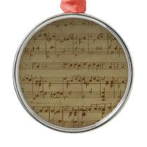 Vintage sheet music pattern metal ornament