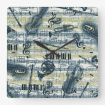 Vintage Sheet Music Pattern Wall Clock