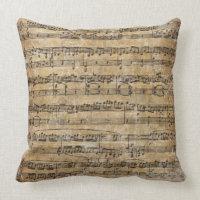 Vintage Sheet Music Throw Pillows