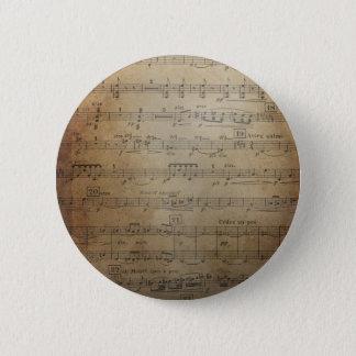 Vintage Sheet Music Pinback Button