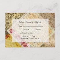 Vintage Sheet Music Pink Rose Wedding RSVP card