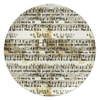 Vintage Sheet Music Party Plate