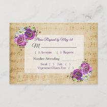 Vintage Sheet Music Purple Rose Wedding RSVP card