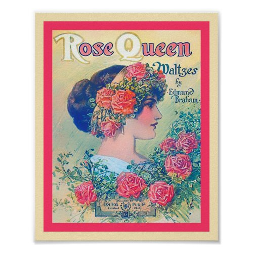 Vintage Sheet Music Rose Queen Waltzes Cover Print