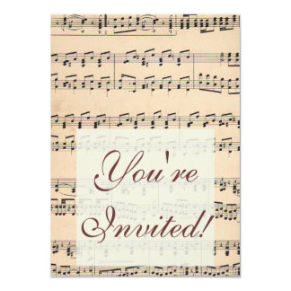 Vintage Sheet Music Score Black and White notes Card