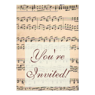 Vintage Sheet Music Score Black and White notes Custom Announcements