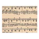 Vintage Sheet Music Score Black and White notes Postcard