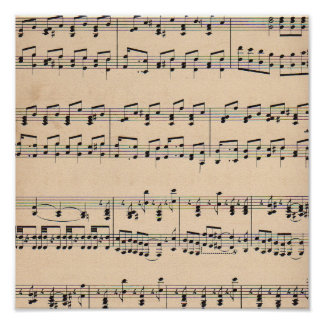 Vintage Sheet Music Score Black and White notes Poster