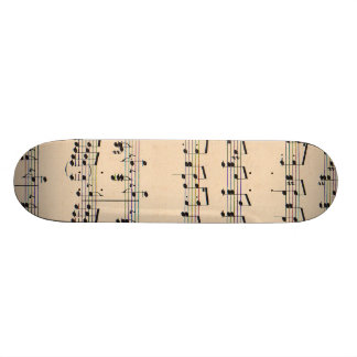 Vintage Sheet Music Score Black and White notes Skateboard